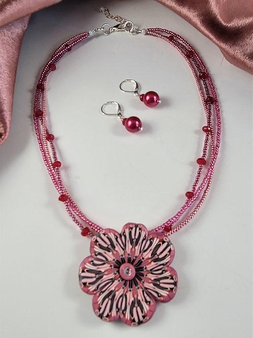Mauve Cane Clay Necklace