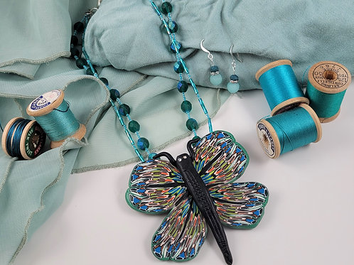 Teal Butterfly Necklace Set