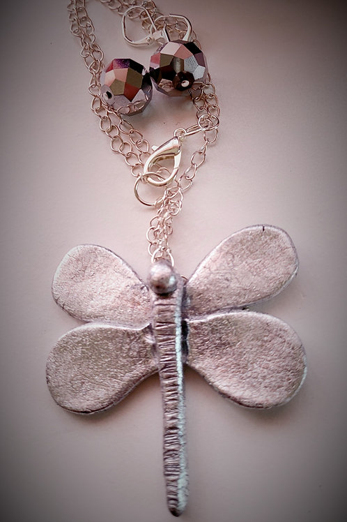 Robin F Bright Silver Dragonfly Necklace