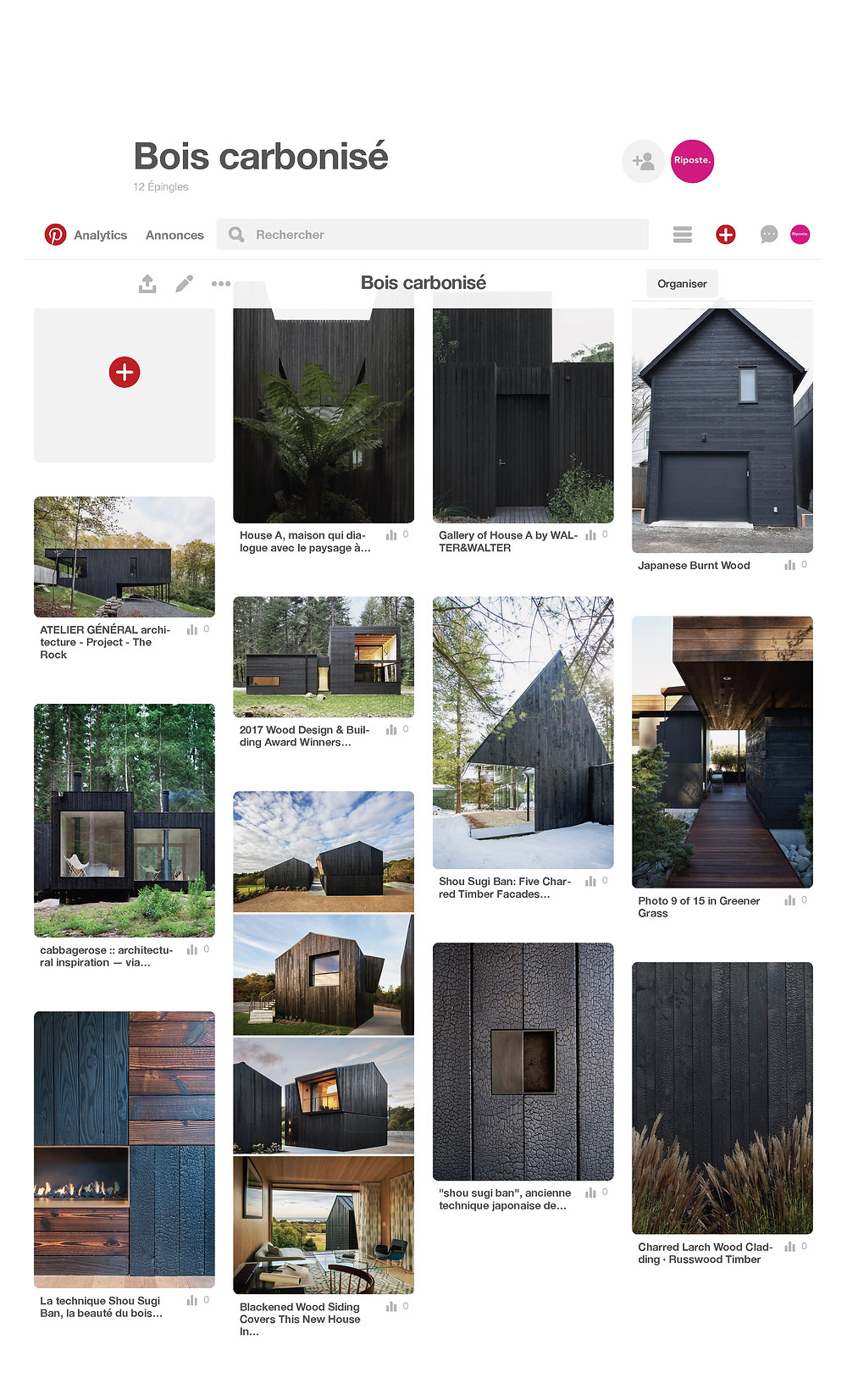 pinterest bois carbonise