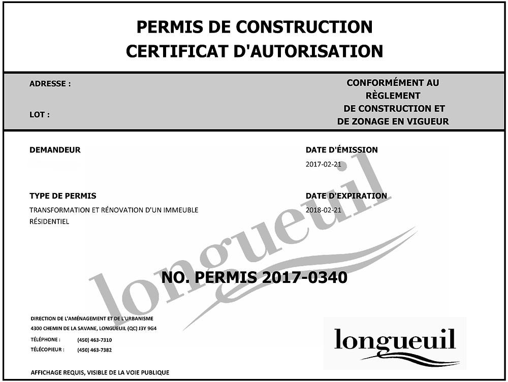 permis construction longueuil