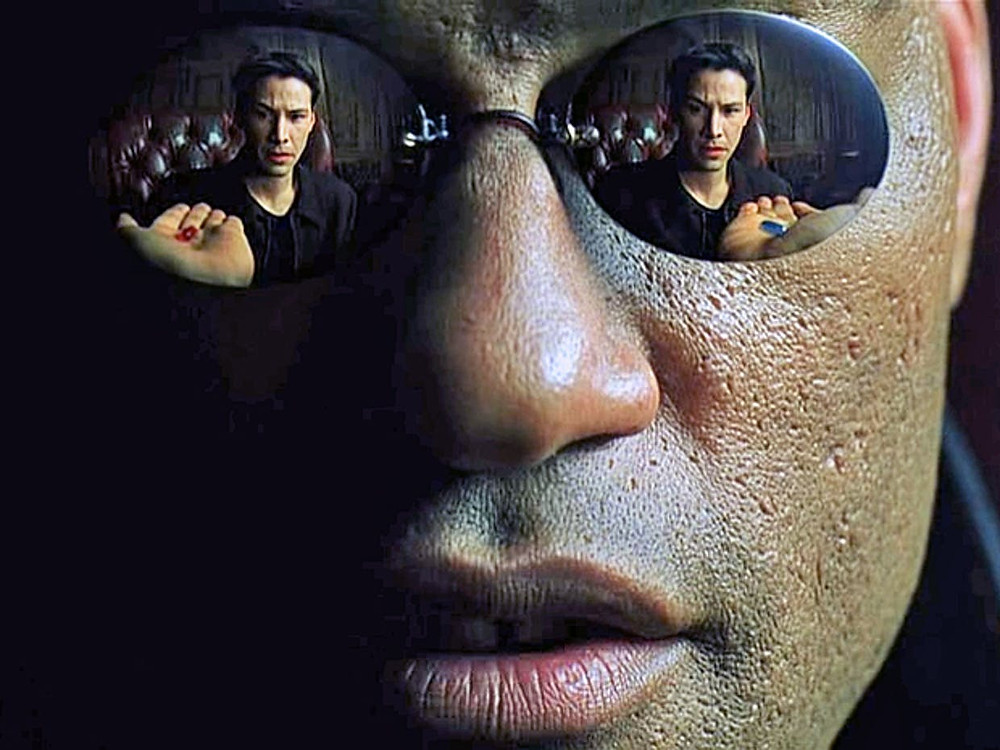Morpheus enticing Neo to exercise his free will