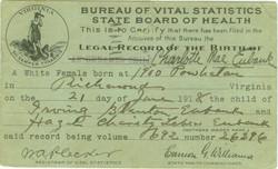 Charlotte Mae Eubank Birth Record
