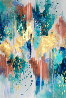 TIERRA Y AGUA Mixed media on heavyweight cotton paper 2021 AVAILABLE FOR FINE ART PRINTS.  Original SOLD