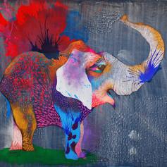 Old Orlando 140 x 140 cm Mix media on denim Puebla. México