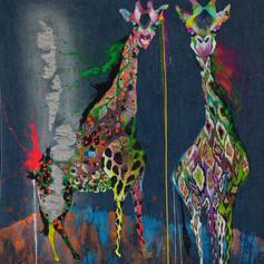 Las flacas - Diptych 140 x 140 cm Mix media on denim Puebla. México