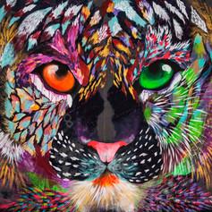 Leopardo Lui 140 x 140 cm Mix media on denim Puebla. México
