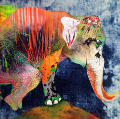 Gerardo Rojo 110 x 140 cm Mix media on denim Puebla. México