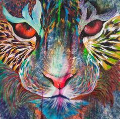 Fabrizio 130 x 150 cm Mix media on denim Puebla. México