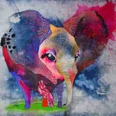 Violeta 140 x 140 cm Mix media on denim Puebla. México