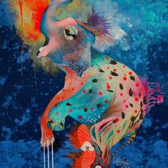 Carlos Armando Cyan 110 x 140 cm Mix media on denim Puebla. México