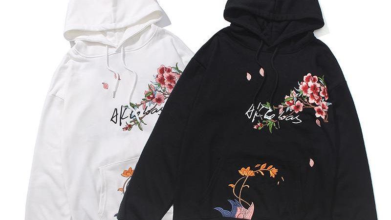 Chinese Style Flowers Embroidery Hoodie Sweatshirt Men Harajuku Hoodie
