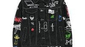 Hip Hop Fashion Printed Jeans Jacket Men  Autumn Winter Streetwear