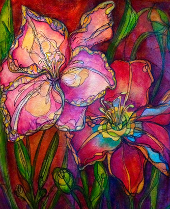 """Autumn Lillies,"" 26"" x 30"", Acrylic and Mixed Media on Canvas"