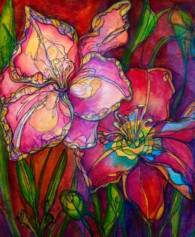 """Autumn Lillies,"" 26"" x 30"", Acrylic and Mixed Media on Canvas"