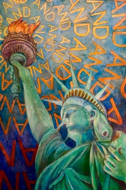 """Enlighted Liberty"" | 96"" x 60"" | Acyrlic & Mixed Media on Canvas | 2017"