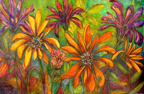 """Wonderland X,""  48"" x 30"", Acyrlic and Mixed Media on Canvas, 2011"