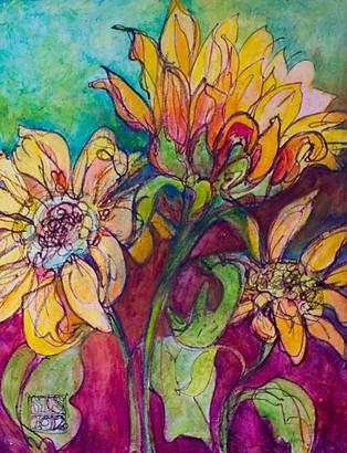 """Sunseekers"", 24"" x 30"", Acrylic & Mixed Media on Canvas, 2014"