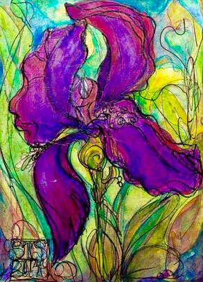 """""""Iris Shining"""", 18"""" x 24"""", Acrylic & Mixed Media on Canvas, 2014"""