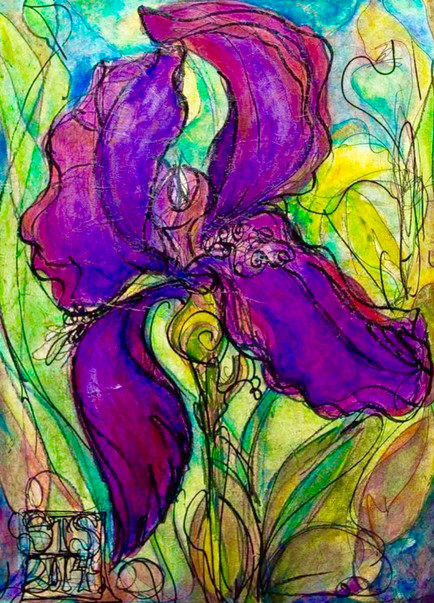 """Iris Shining"", 18"" x 24"", Acrylic & Mixed Media on Canvas, 2014"