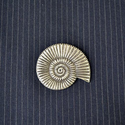 ammonite silverplate brooch