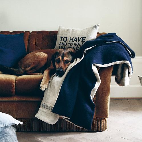 Linen lined wool blanket/throw