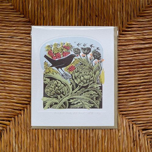 Angela Harding 'Blackbird stealing redcurrents' card