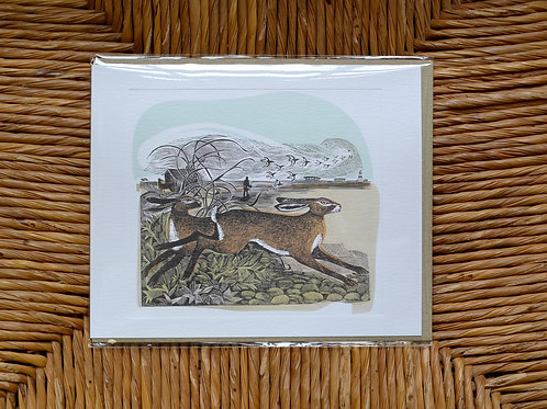 Angela Harding 'Hares at Orford Ness' card