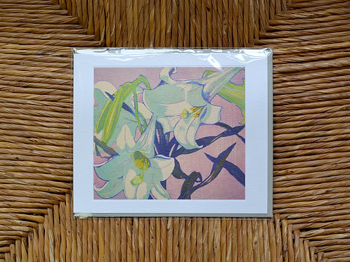 Mabel Royds 'White Lillies' card