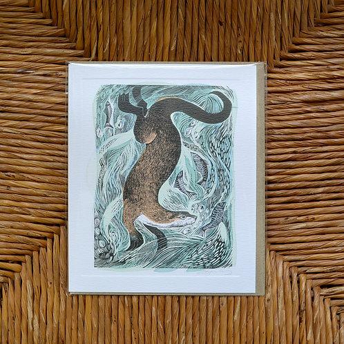 Angela Harding 'Fishing Otter' card