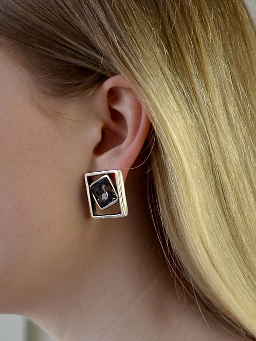 square cut  silver earring