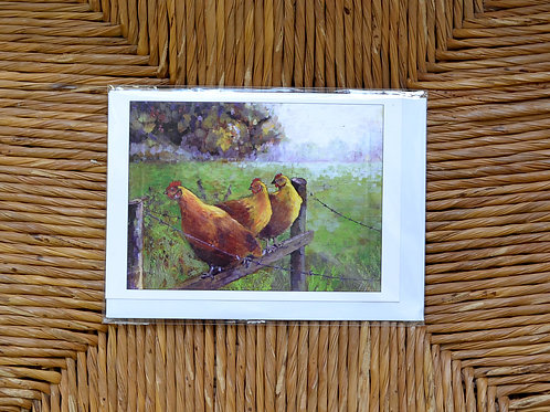 Liz Hutchinson 'Chickens on the fence' card