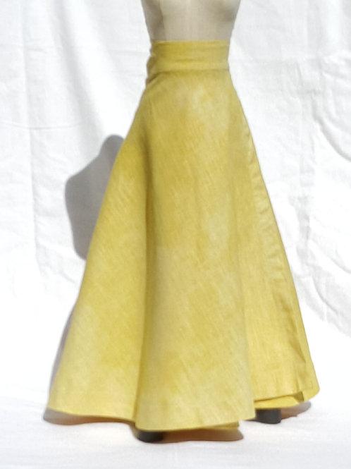 Butter Yellow Tye Dye Wrap Skirt
