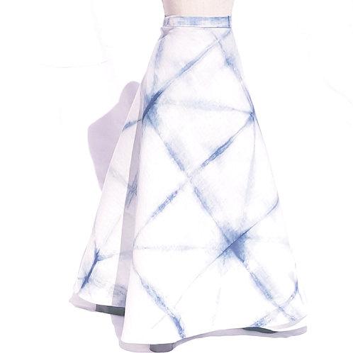 Long Linen Indigo Wrap Skirt