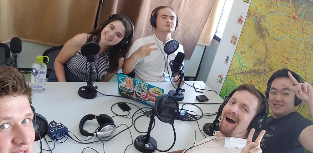 My podcast team: Edvardas Sumila, Hannah Rosa Schiller, me, Krzyzstof Stefanski, and Andrew Chung