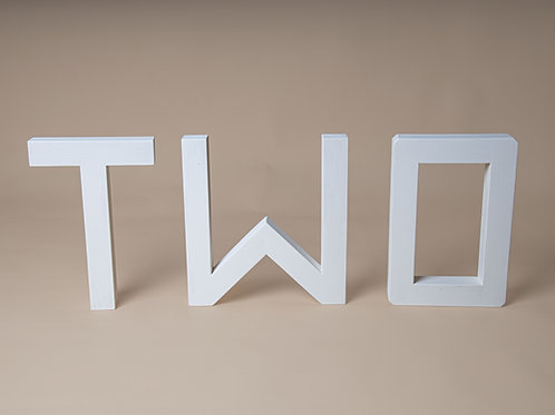 Wooden letters TWO