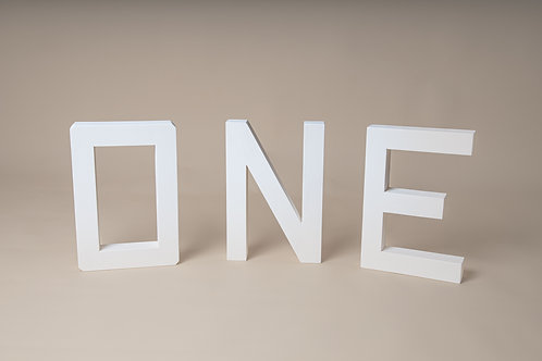 Wooden letters ONE