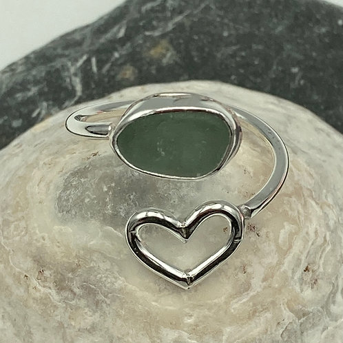Heart and sea glass ring