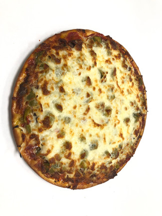 Specialty pizza,our special, sausage, mushroom, onion, and green peppers