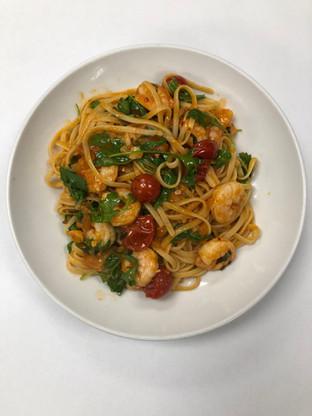 Linguini, shrimp, and cherry tomatoes