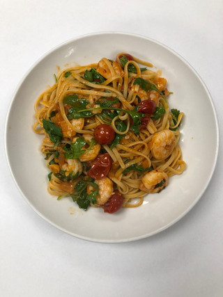 Linguini, shrimp, and cherry tomatoes