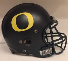 2008 Oregon Ducks Blackout Riddell Revolution Football Helmet Doxey Decal Green Glitter Matte Black Gold Glitter O's Dark Green mask (vs. Arizona)