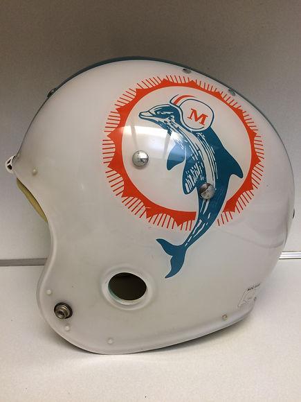 1973 Miami Dolphins MacGregor clear shell football helmet, undrilled vintage NFL football helmets