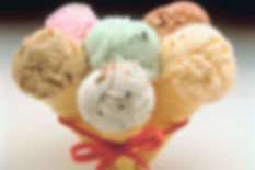 6 Different icecream flvours in standard cones tied with red ribbon from Rusty and Roses Catering