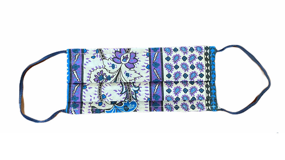 Mascherina sartoriale stampa lilla e blu