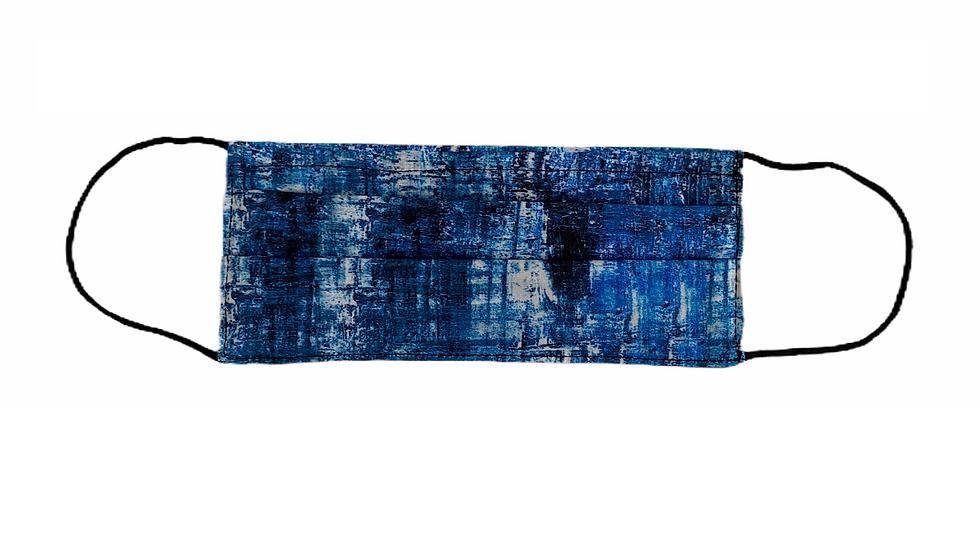 Mascherina sartoriale stampa blu navy
