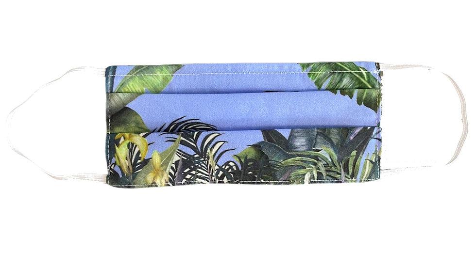 Mascherina sartoriale stampa jungle azzurra