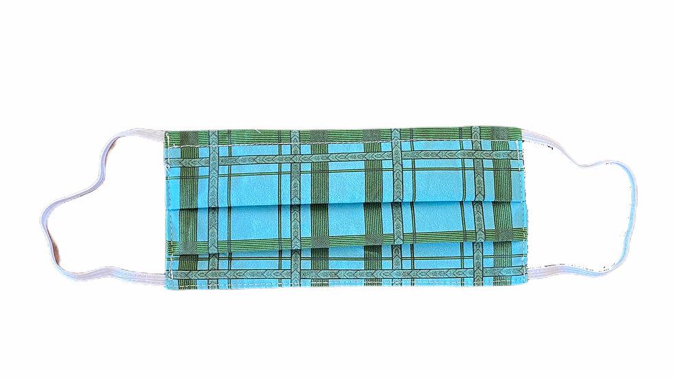 Mascherina sartoriale stampa check azzurra e verde
