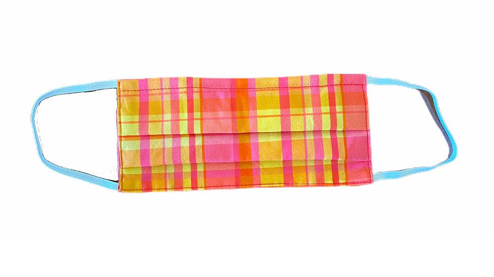 Mascherina sartoriale stampa check rosa e arancio
