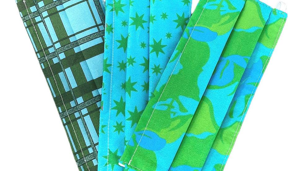 Tris Mascherine sartoriali stampate sui toni del verde
